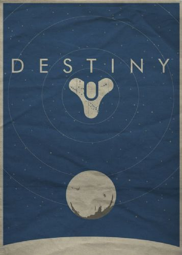 GAMES - DESTINY MINIMAL BLUE canvas print - self adhesive poster - photo print